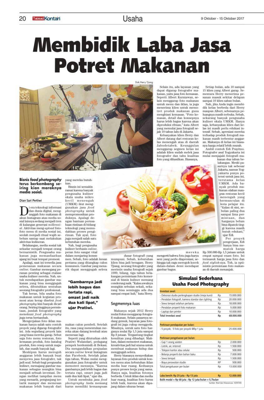 Membidik Laba Jasa Potret Makanan – Kontan 9 Oktober 2017