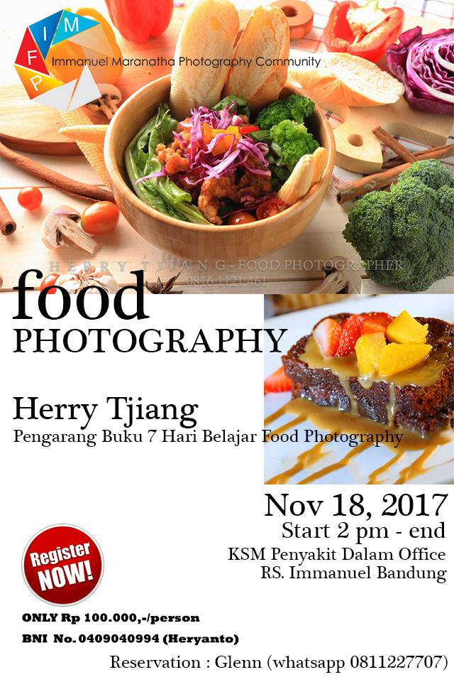 FOOD PHOTOGRAPHY WORKSHOP Bersama Dokter Imanuel Bandung